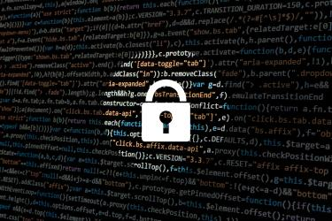 Image shows a padlock over computer code