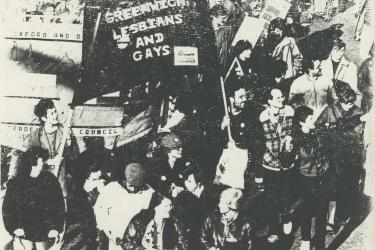 Greenwich Lesbian and Gay Rights Group at Pride in 1985