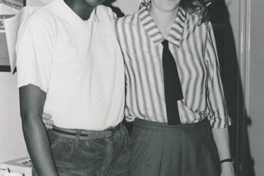 Greenwich Lesbian and Gay Centre workers Colleen Humphrey and Maggie Honey side-by-side, 1988