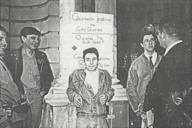 Protesters opposing the funding cuts to the Greenwich Lesbian and Gay Centre outside Greenwich Town Hall, 1991