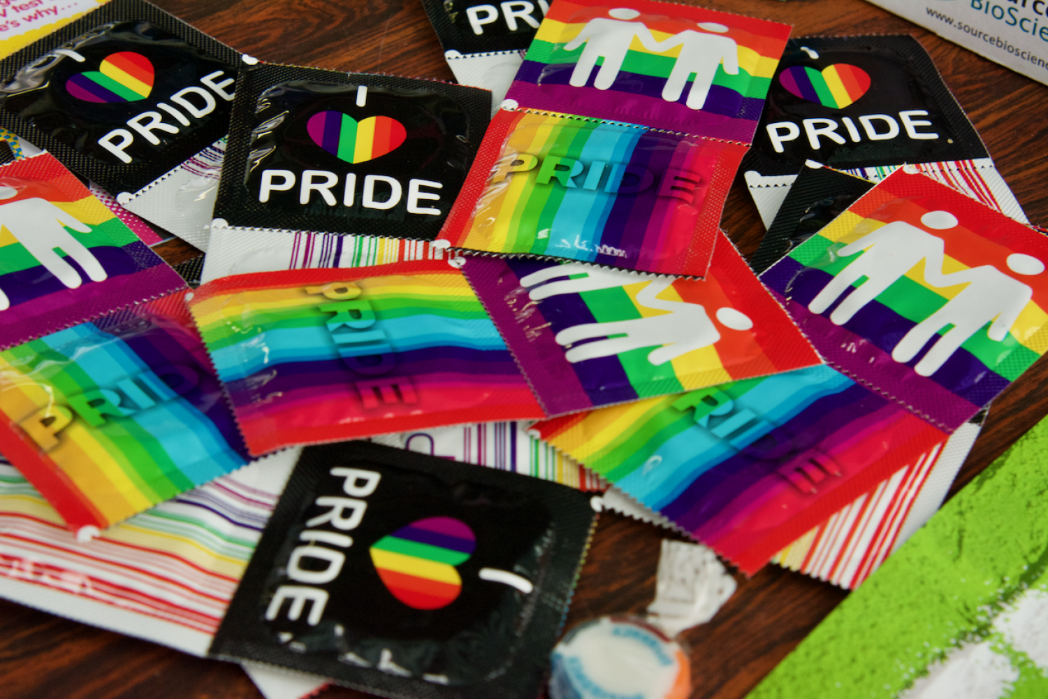 Condoms with rainbow and heart packaging at Essex Pride