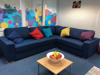 The sofa in our offices in Woolwich