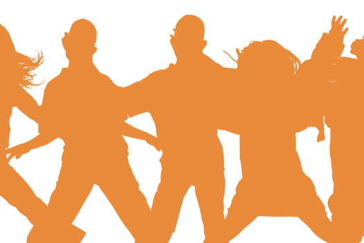 Silhouette of a group of young people