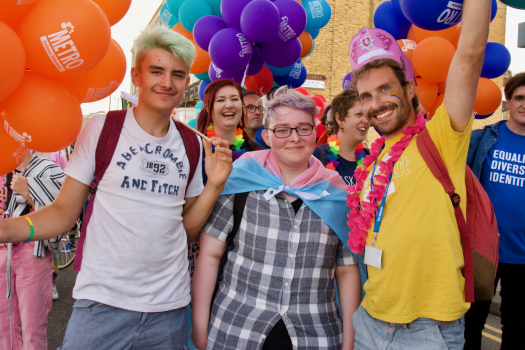 Young people with METRO at Margate Pride