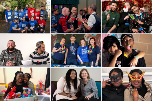 A collage of photos showing METRO staff, volunteers and services users at different events