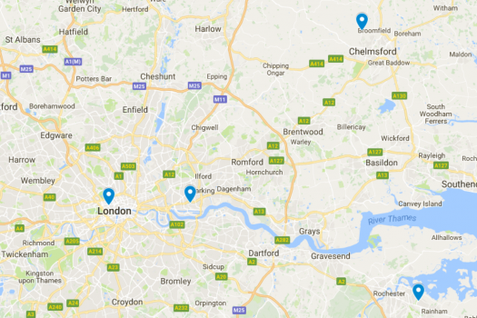 A map of our offices in Woolwich, Vauxhall, Gillingham and Essex