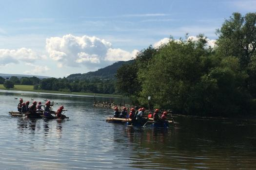 Young people on canoes at our weekend residential in the Lake District