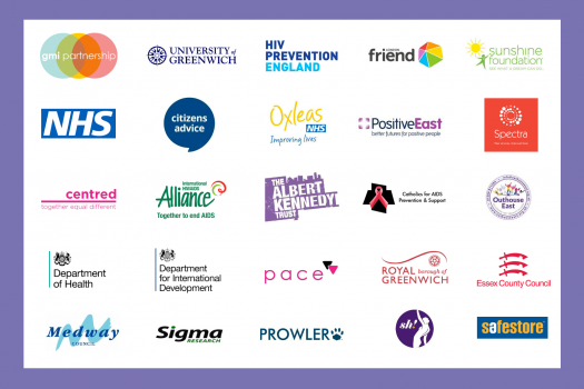 Logos from our partners including GMI Partnership, NHS and HIV Prevention England