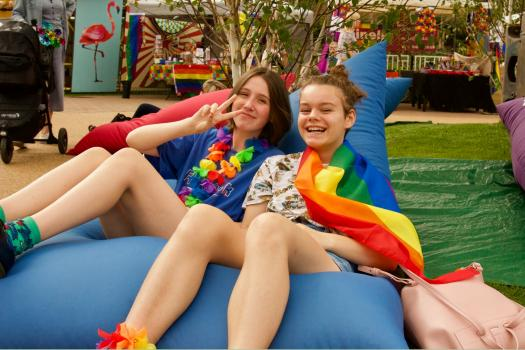 Young people sitting on METRO beanbags at Margate Pride