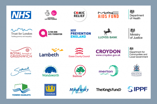 Logos of our funders, including the NHS, Royal Borough of Greenwich and Comic Relief