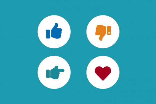 Four icons showing thumbs up, thumbs down, hand pointing right and a heart