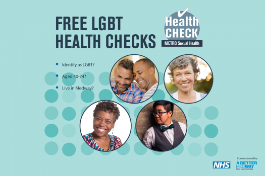 Poster advertising free LGBT health checks for people aged 40-74 who live in Medway