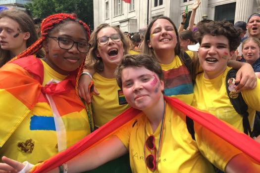 A group of our LGBTQ young people at Pride in London 2017