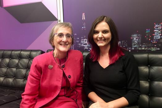 City Bridge Trust Chairman, Alison Jane Gowman and METRO's Counselling Services Manager, Natalie Wood, in the green room at London Live