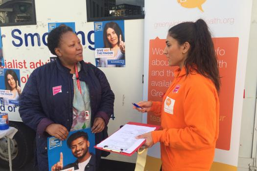 Royal Borough of Greenwich Councillor Averil Lekau with our Sexual Health Outreach Worker Andrea