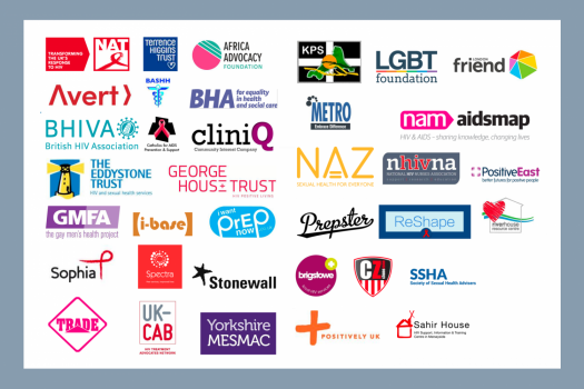Logos of organisations who are calling for PrEP to be made available through the NHS.
