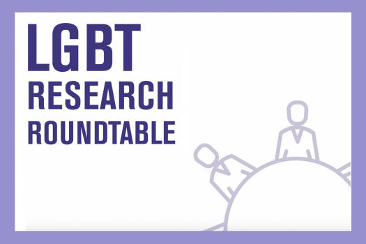 LGBT research roundtable poster with outlines of people sitting around a round table