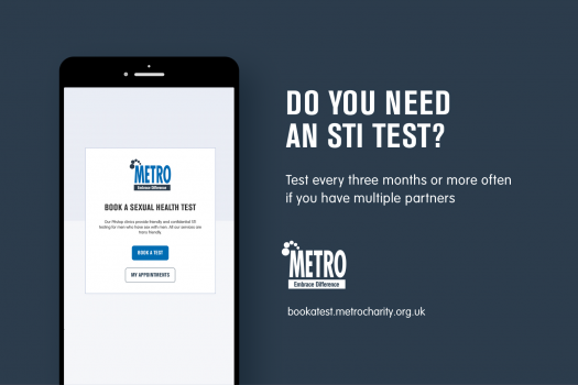 Poster for online bookings for Pitstop clinic appointments (says Do you need an STI test? Test every three months or more often if you have multiple partners)