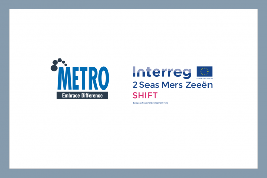 Logos for METRO and the Interreg 2 Seas Mers Zeeën SHIFT project, funded by the European Regional Development Fund