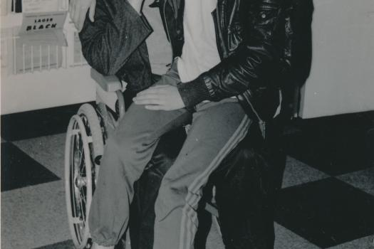 Two members of the Greenwich Lesbian and Gay Centre in 1989