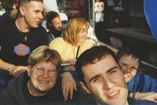 Service users on the top deck of The Metro Centre bus on World Mental Health Day in 1998