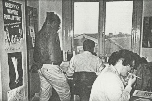 Office at the Greenwich Lesbian and Gay Centre with volunteers and staff working, 1991