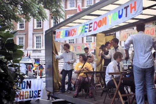 Young people from Greenwich Freedom Youth on a float at London Pride
