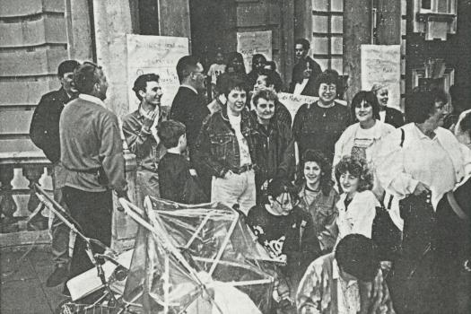 Large group of protesters against Council funding cuts to the Greenwich Lesbian and Gay Centre, taken outside Greenwich Town Hall on 15 May 1991