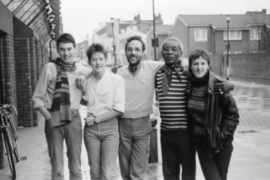 Greenwich Lesbian and Gay Rights Group workers with local residents, 1985
