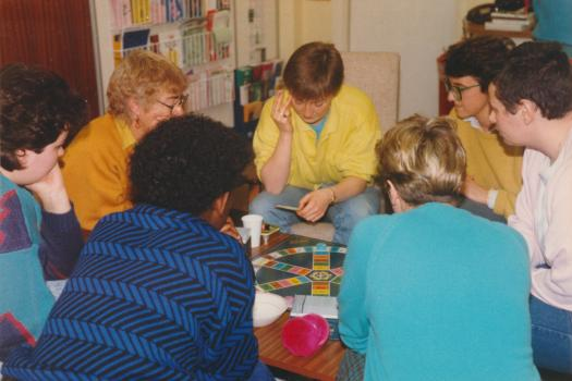 The lesbian group playing Trivial Pursuit at the Greenwich Lesbian Gay Centre in 1986