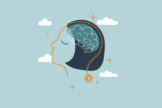 Illustration of a person's mind surrounded by clouds