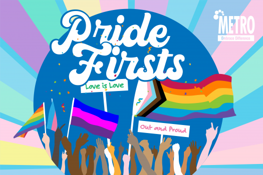 Drawing of hand and arms in the air with various pride flags and placards saying Love is Love and Out and Proud, with Pride Firsts large at the top in ornate bubble writing