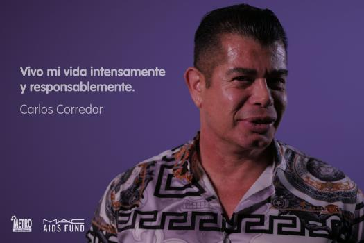 A portrait on a purple background of Carlos Corredor